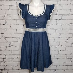 Beauty & the Beast Chambray Crochet Dress